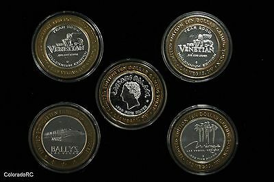 Casino Strikes 5 Count Lot .999 fine Silver Ceasar's Palace Venetian Mirage +