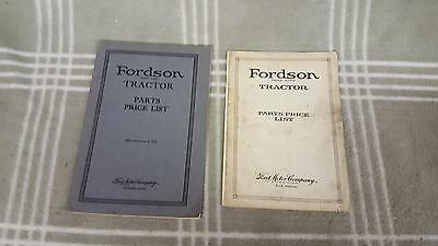 Pair Fordson Tractor Parts Price List 1920 and 1922.