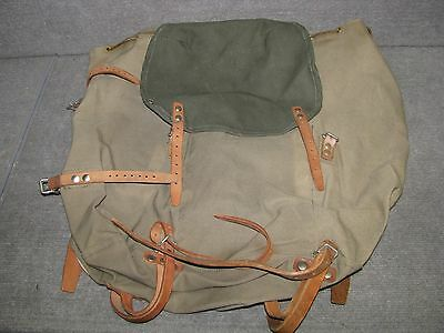 Vintage Sweden SWEDISH ARMY Backpack No metal frame, canvas and leather 3 CROWNS