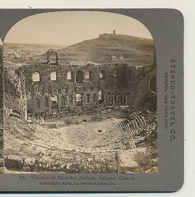 Theatre of Herodes Atticus Athens Greece Stereo-Travel Stereoview 1909