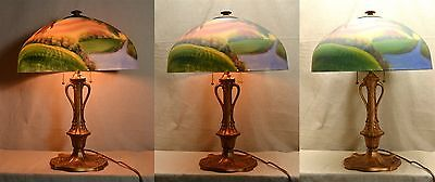 Antiq PHOENIX GLASS REVERSE PAINTED & PATINATED METAL LAMP 2 SOCKETS PULL CHAINS