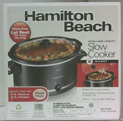 NEW OPEN BOX Hamilton Beach R1505 6-Quart Slow Cooker Black Factory Recertified