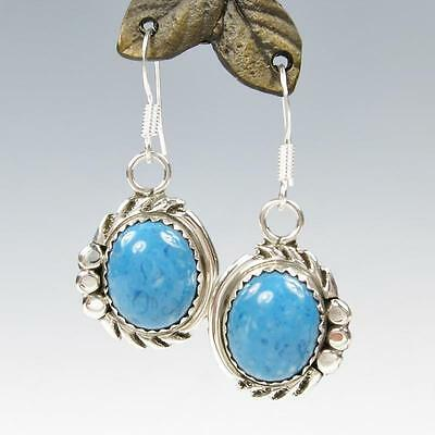 Native American Navajo Delores Cadman Sterling Silver Denim Lapis Drop Earrings