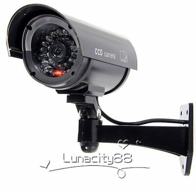 1X Bullet Fake Dummy CCTV Camera Security Surveillance Cam IR Record Flash Light