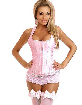 Classic Pink Corset w/ G-String Set Women's Clothing Underwear Evening Wear