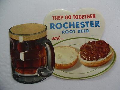 c.1959 ROCHESTER ROOT BEER Hamburger Store Advertising Sign Vintage Original NOS