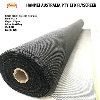 100ft / 30m ROLL INSECT FLYWIRE WINDOW FLY SCREEN NET MESH FLYSCREEN (Black)