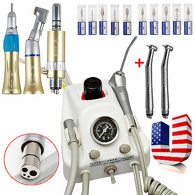Dental Portable Air Turbine Unit+2 High 1 Low Speed Handpieces Set+Carbide Drill