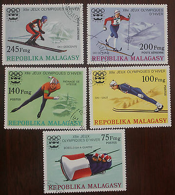 5 Malagasy Winter Olympic stamps