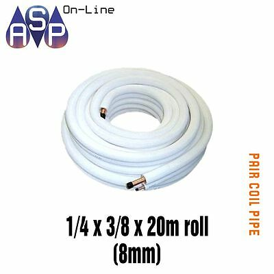 Pair / Twin Coil White Insulated Copper Pipe Tube 1/4 X 3/8 20M Roll 8Mm Wall