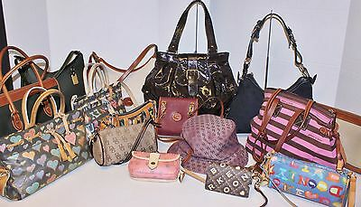 Auth 16pc DOONEY & BOURKE Leather Signature Hobo Tote Bag Handbag Rehab Lot