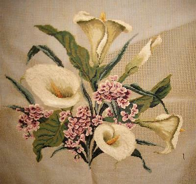 vintage 1920's MADEIRA Needlepoint CALLA LILIES Panel 26x26 Hand Made Preworked