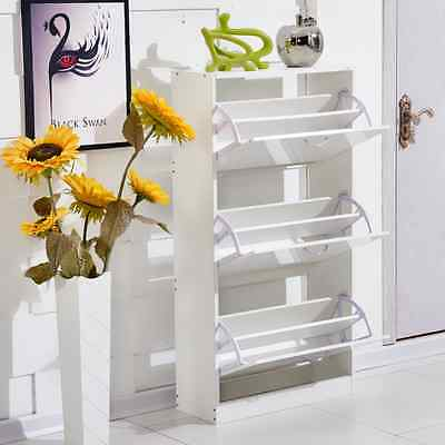 White Shoe Cupboard 3 Tiers Wood Shoes Cabinet Footwear Stand Rack Storage Unit