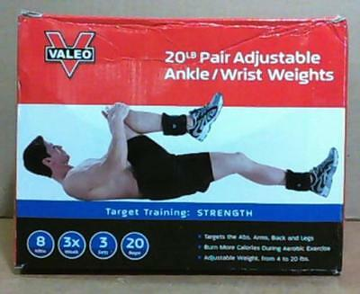 NEW Valeo AW20 Adjustable Ankle / Wrist Weights Pair 20lbs Total Black