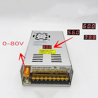 DC 0-80V 6A 480W Adjustable Voltage switching power supply with digital display