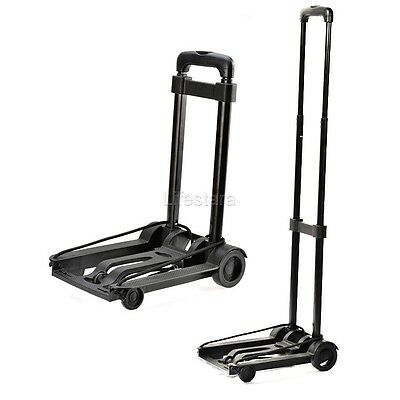 Metal Cart Folding Dolly Push Truck Hand Collapsible Trolley Luggage 88lb Black