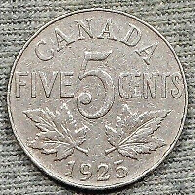 1925 Canada 5 Cents Coin - KM# 29