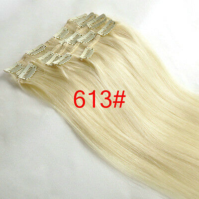 """7PCS Clip In Remy FULL HEAD Human Hair Extensions 70g 15"""" #613 blonde color"""
