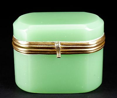 Antique French Jade Green Opaline Glass Hinged Box - Beautiful!