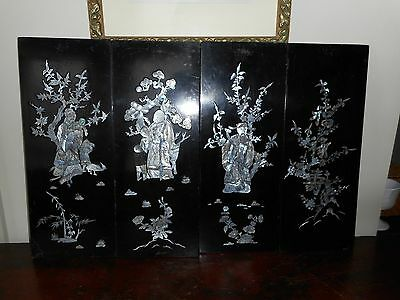 Four Mother of Pearl inlay black panels