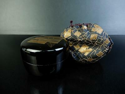 F346: Japanese Wooden gold lacquer pattern TEA CADDY Natsume Jujube Shifuku