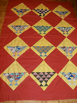 "Antique Vintage Basket pattern Quilt Top 60"" x 80"" Nice, unused condition"