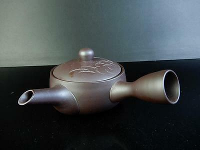 F391:Japanese Banko-ware Flower sculpture TEAPOT Kyusu Sencha,Shoryu made