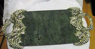 Vintage Godinger Silver Art Green Marble Cheese Serving Plated Grape Tray