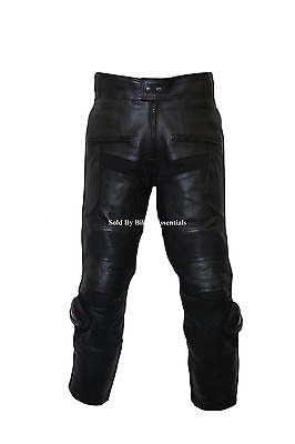 Mens Cowhide Leather Motorcycle Biker Trousers Jeans With Sliders & CE Armor