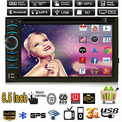 """Quad Core Android 4.4 GPS Car Radio Stereo DVD Player 6.5"""" Double 2 DIN 3G WIFI"""
