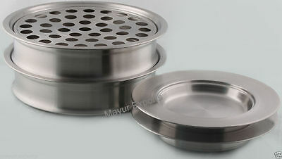 Stainless Steel 2 Communion Tray Set and 2 Bread Plate Matte Finish