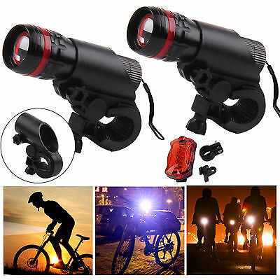 2 X CREE Q5 LED Bike Bicycle Cycle Zoomable Torch Front Lights & Rear Lamp Set