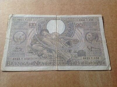 100 Belgium Francs banknote dated 1938