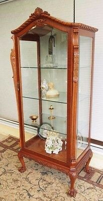 Vintage Antique Gothic Chippendale Style Display/china Cabinet/hutch/vitrine