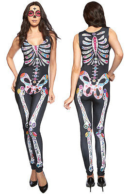 Ladies Print Sleeveless Sugar Skull Adult Halloween Catsuit Fancy Dress Costume