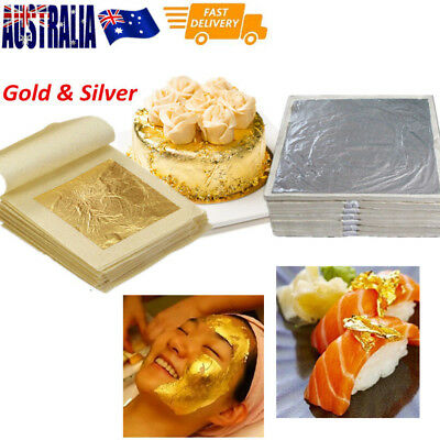 10xReal Gold/Silver Foil Leaf  99.99%Pure 24K Food Cake Decor Edible Face Beauty