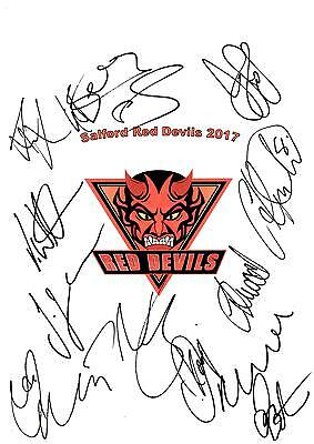 Salford Red Devils NEW 2017 Hand Signed A4 Autograph Sheet,Super League
