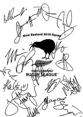 New Zealand 2016 Four Nations Hand Signed A4 Autograph Sheet,England,Australia