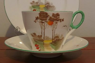 Shelley England trio cup, saucer and plate Country Lane scene