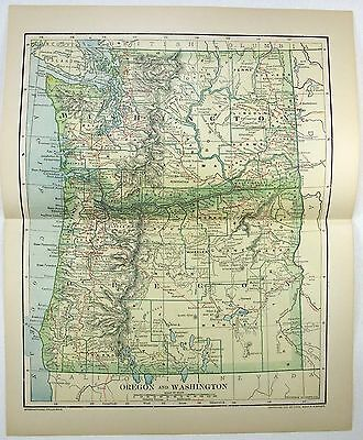 Original 1895 Dated Map of Washington & Oregon by Dodd Mead & Company