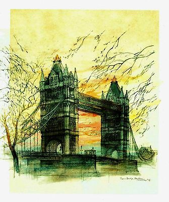 """""""Sunrise Over Tower Bridge"""" London, England - Lithograph by Mads Stage (Danish)"""