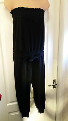 Black Boob Tube Long Playsuit Jumpsuit Holidays Beach Cover Up 10 12