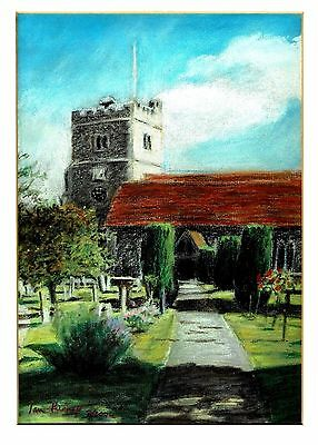 "Holy Trinity Church, Cookham, Berkshire - Original Pastel by Ian Purnell 11""x14"""