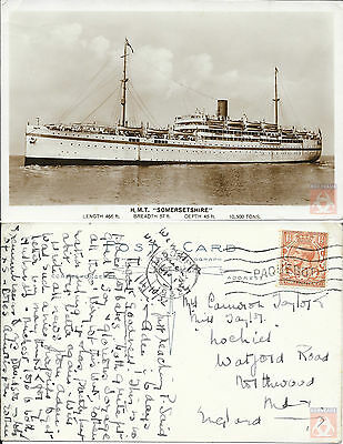Angleterre - PAQUEBOT - SOMERSETSHIRE - Posted at Sea 1932 - London FS