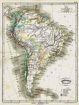 1877 Fine map of SOUTH AMERICA by Dumas Vorzet Nice decorative colors