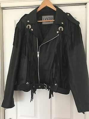 "Thick Leather, Fringed Biker, Motorcycle Jacket 42""/44"" L Superb Condition"