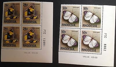 RHODESIA 1974 BUTTERFLY CORNER BLOCKS sheet No 50c  and 24 cents  MNH