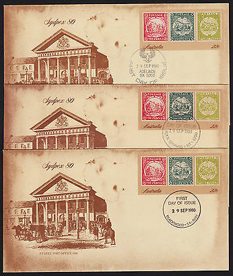 1980 Sydpex 80 Pre-Stamped Envelope 6 different first day of issue cancel marks