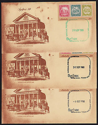 1980 Sydpex 80 Pre-Stamped Envelope Town Hall Sydney cancelled each day 8 total