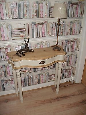 Pine and cream console hall table with drawer